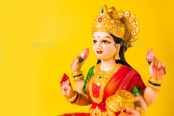 Lakshmi Idol or Laxmi Clay Idol - Stock Photo - Images