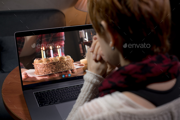 woman happy birthday (quarantine) - Stock Photo - Images