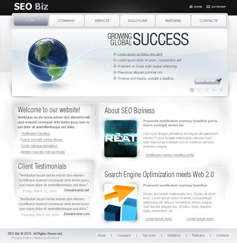 SEO Biz (Clean) - 7 Page Design