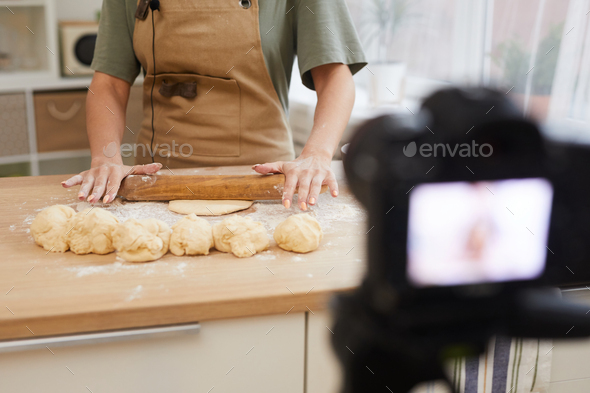 Food blogger showing master class - Stock Photo - Images