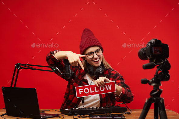 Musical blogger making content - Stock Photo - Images