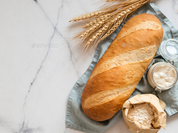 Sourdough Bloomer or Baton loaf bread - Stock Photo - Images