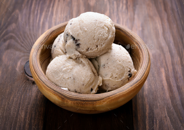 Scoops of ice cream in bowl - Stock Photo - Images