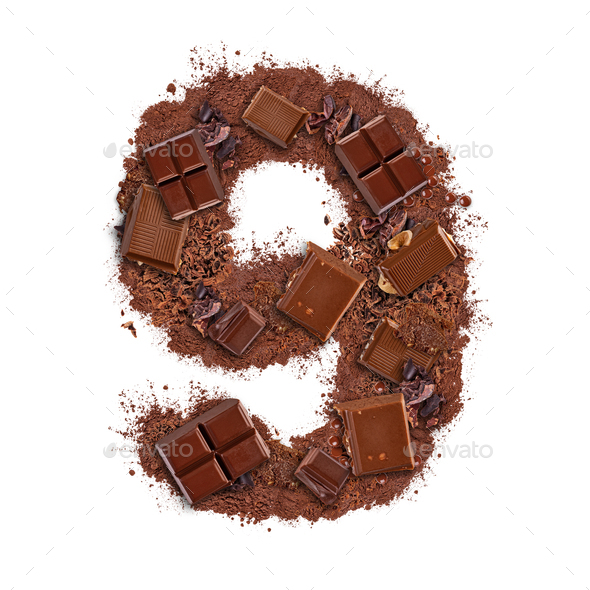 Number 9 made of chocolate bar - Stock Photo - Images