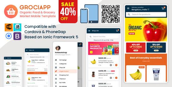 Grociapp - Organic Food & Grocery Market Mobile Template
