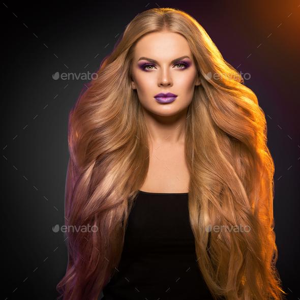 Glamour woman beautiful hairstyle fashion make up - Stock Photo - Images