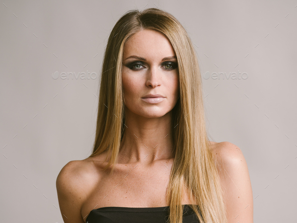 Beautiful woman long hair blonde natural portrait with beauty makeup - Stock Photo - Images