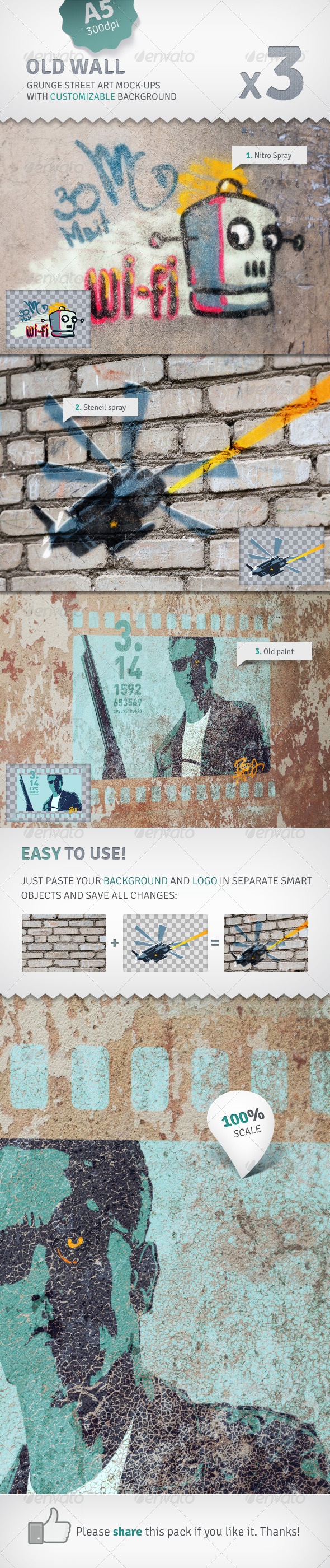 Wall - 3 Graffiti Street Art Mockups - Miscellaneous Product Mock-Ups