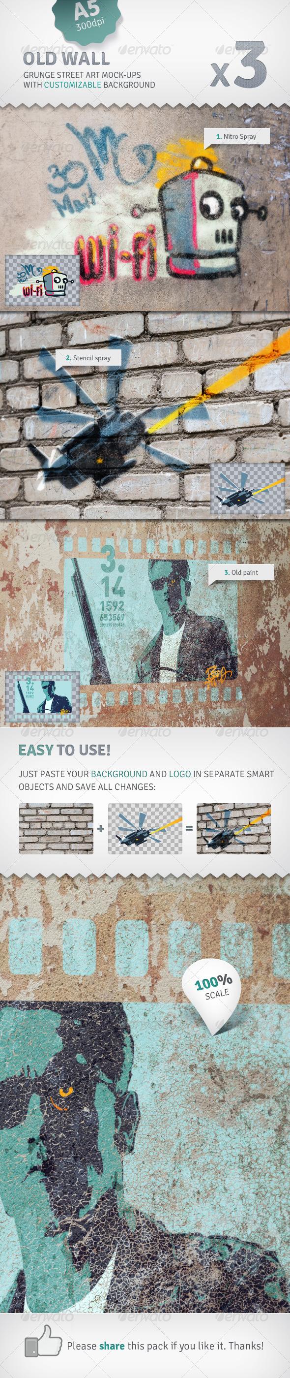 Wall - 3 Graffiti Street Art Mockups - Miscellaneous Product Mock-Ups
