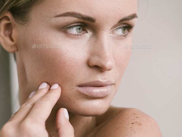 Natural beauty skin woman face close up macro model beauty - Stock Photo - Images