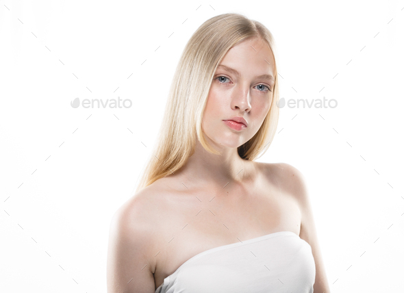 Pure clean skin blonde hair young model - Stock Photo - Images