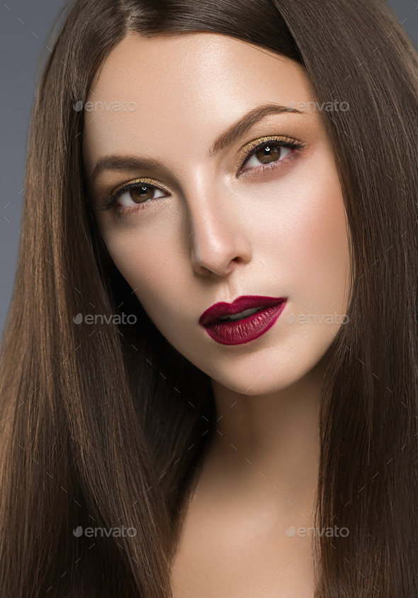 Woman Portrait Beautiful Young Model Natural make Up - Stock Photo - Images