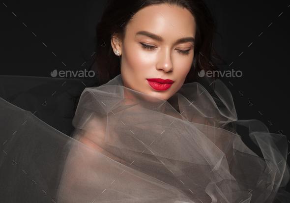 Art beauty woman portrait red lipstick dress beautiful asian - Stock Photo - Images