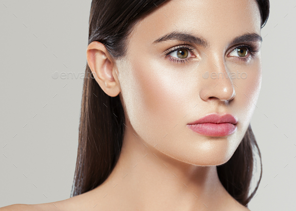 Beauty skin woman face healthy skin beautiful model close up face natural makeup brunette - Stock Photo - Images