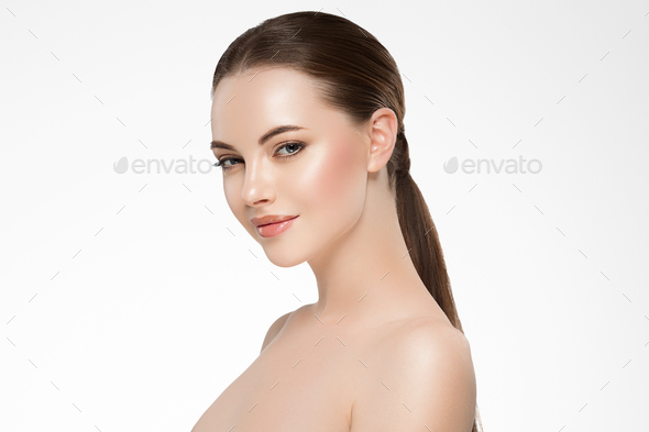 Beauty woman face clean healthy skin natural make up isolated on white - Stock Photo - Images