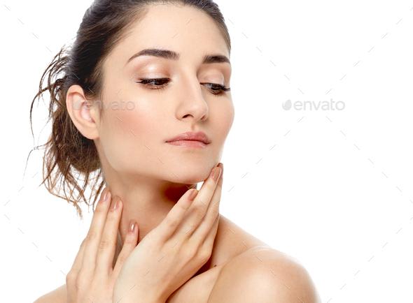 Beautiful woman natural make up classic beauty portrait - Stock Photo - Images