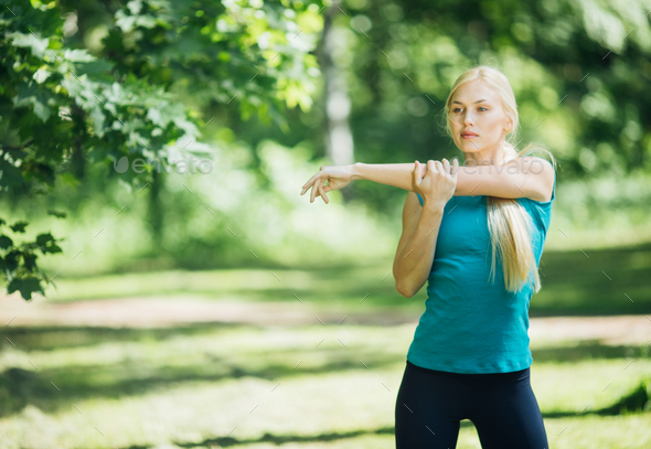 Sport. Woman nature portrait doing exercises. Healthy lifestyle - Stock Photo - Images