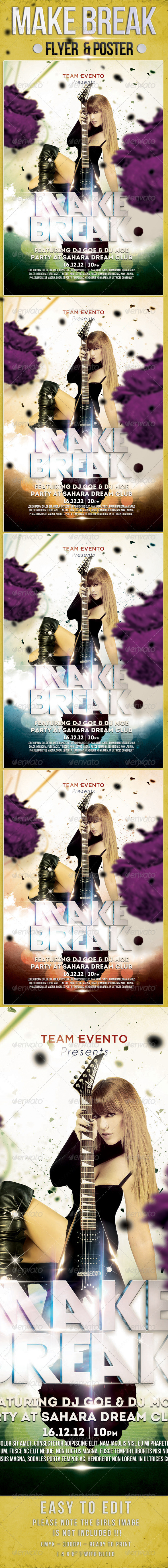 Make Break Party Flyer Template - Clubs & Parties Events