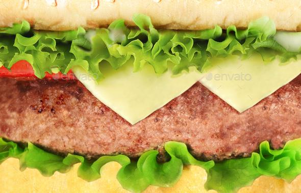 hamburger close-up or macro - Stock Photo - Images