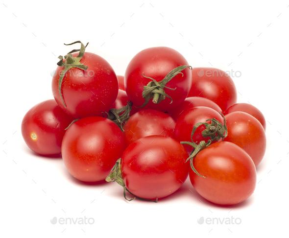Ripe Fresh Cherry Tomatoes isolated - Stock Photo - Images