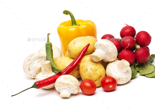 fresh vegetables on the white background - Stock Photo - Images