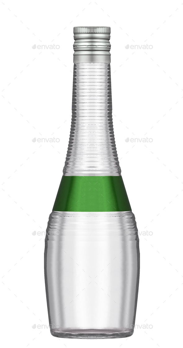 Soda water in glass bottle isolated on white - Stock Photo - Images