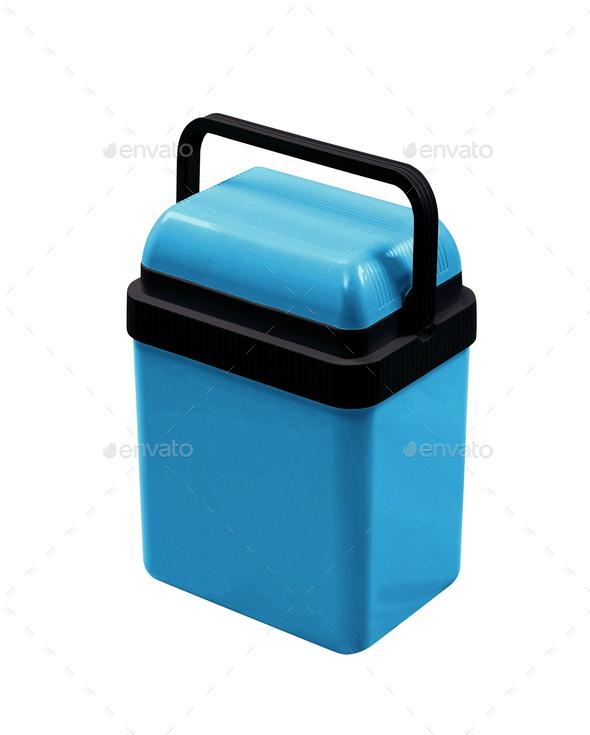 blue cooling box isolated on white background - Stock Photo - Images