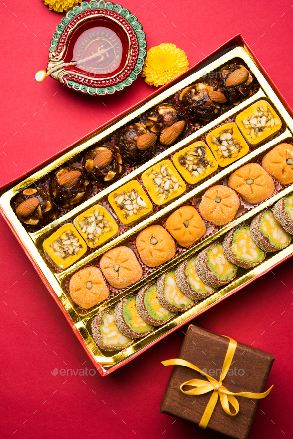 Diwali Food with Diya - Stock Photo - Images