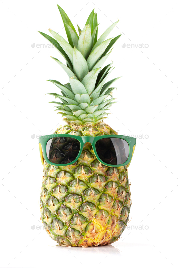 Ripe pineapple with sunglasses - Stock Photo - Images
