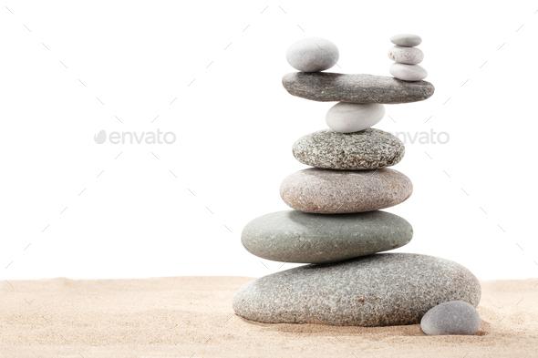Pyramid of sea pebbles - Stock Photo - Images