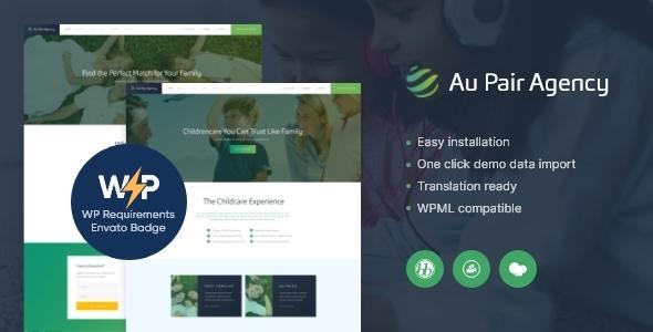 Excellent Au-Pair - Babysitting & Nanny Agency WordPress Theme