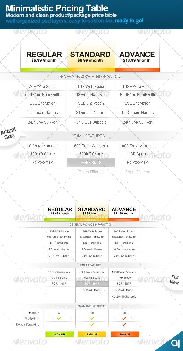 Minimalistic Price Table - Miscellaneous Web Elements