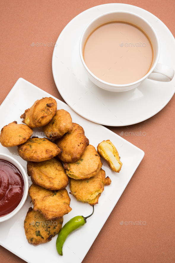 Potato Fritter or Aloo Pakora - Stock Photo - Images