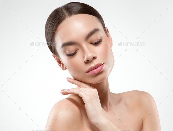 Asian beauty woman face clean skin - Stock Photo - Images