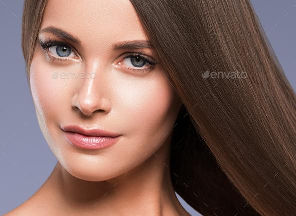 Brunette woman model healthy skin beautiful grey eyes - Stock Photo - Images