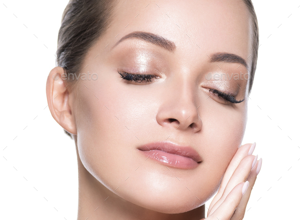 Beautiful face woman close up clean fresh skin - Stock Photo - Images