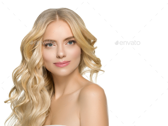 Beautiful blonde female model natural make up long hairstyle beauty portrait - Stock Photo - Images