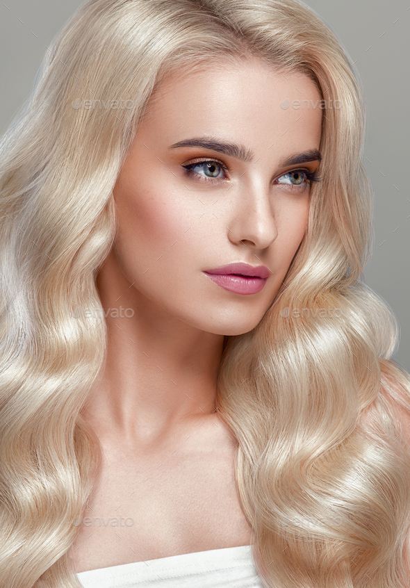 Blonde hair glamour woman natural beauty - Stock Photo - Images