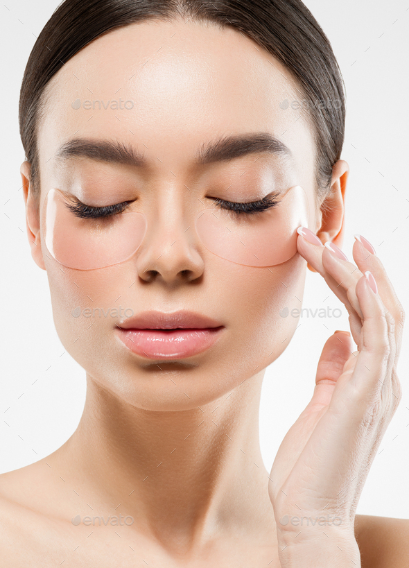 Eyes putch cosmetic mask woman face beauty putches isolated - Stock Photo - Images