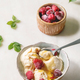 Caramel ice cream with raspberries - PhotoDune Item for Sale