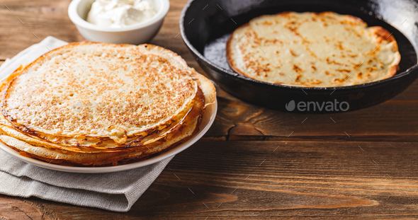 Stack of russian pancakes blini - Stock Photo - Images