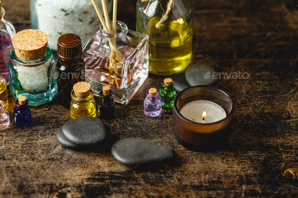 Glass bottles with aroma oil - Stock Photo - Images