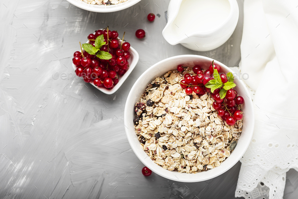 Homemade granola with currant - Stock Photo - Images