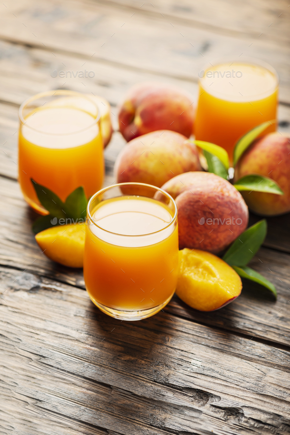 Fresh natural peach juice - Stock Photo - Images