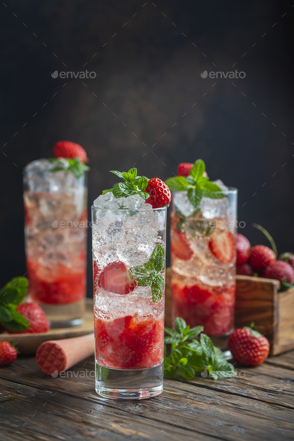 Mojito cocktail with strawberry - Stock Photo - Images