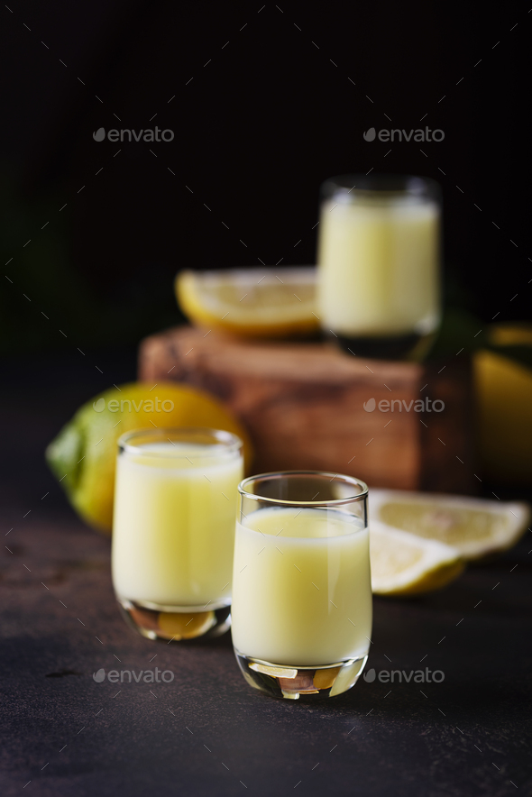 Liquore with lemon and cream - Stock Photo - Images