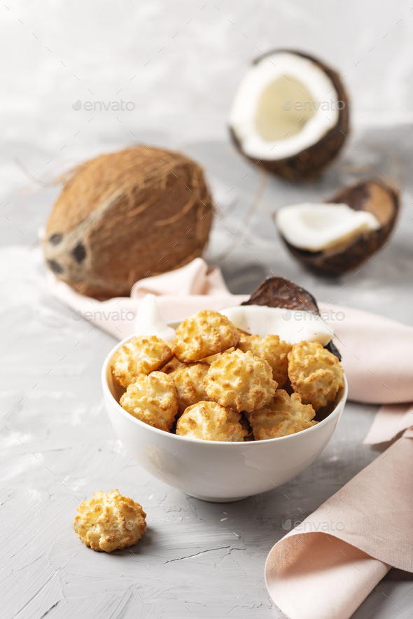 coconut cookies on the marble table - Stock Photo - Images