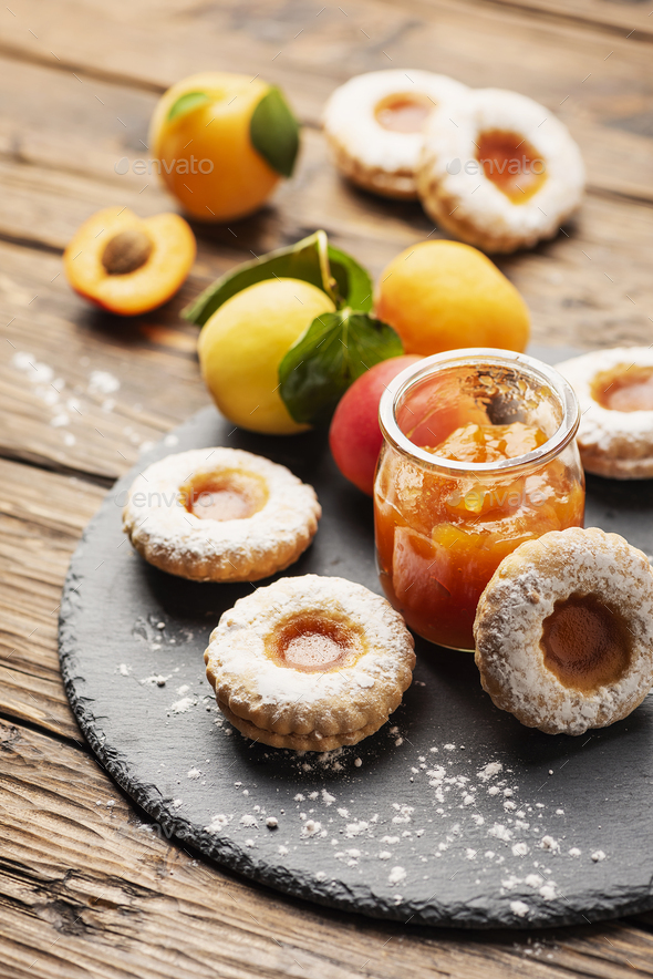 Homemade cookeis with apricot jam - Stock Photo - Images