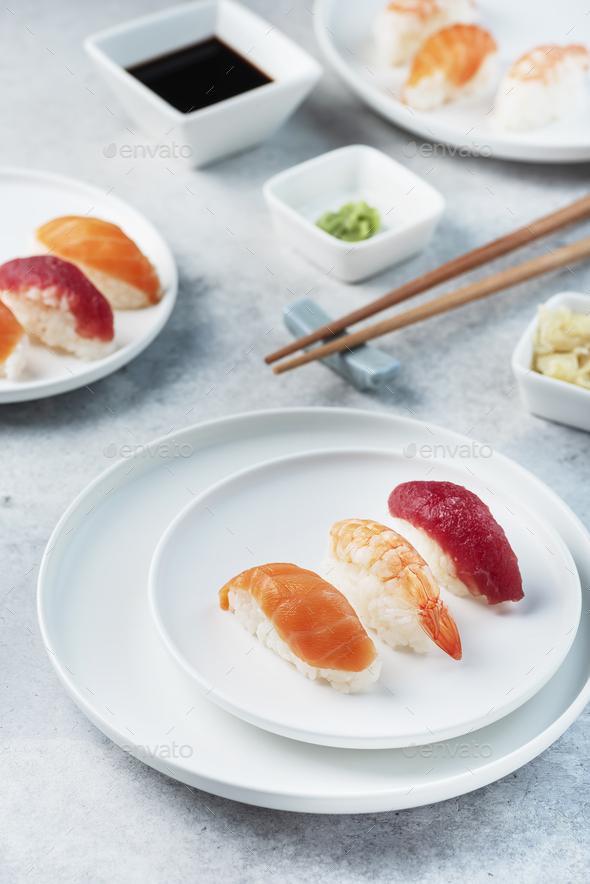 Mix of Traditional Japanese sushi - Stock Photo - Images