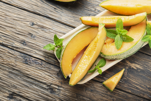 Sweet yellow fresh melon - Stock Photo - Images